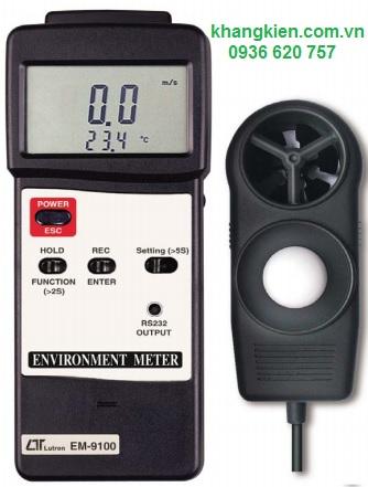 Thiết bị đo tốc độ gió, ánh sáng, nhiệt độ, độ ẩm môi trường LUTRON EM-9100 - Lutron - khangkien.com.vn