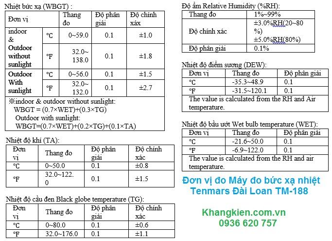 Máy đo bức xạ nhiệt Tenmars Đài Loan TM-188 - thông số kỹ thuật